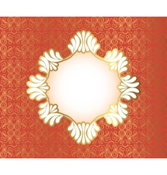 Vintage frame on damask background vector image