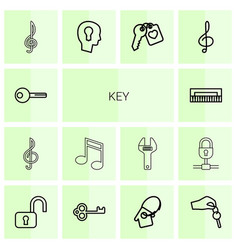 14 key icons vector image