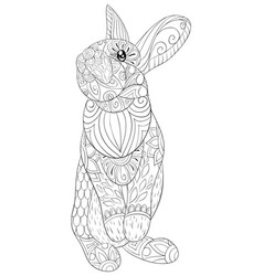 Adult coloring bookpage a cute rabbit image for vector