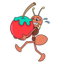 Ants bring apples doodle kawaii doodle icon image vector