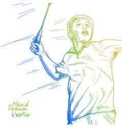 Badminton player vector