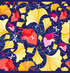 Beautiful pattern ginkgo leaves and hearts vector