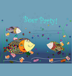 beer party invitation with fishes abstract vector image
