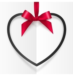 Black heart shape frame hanging on red silky vector
