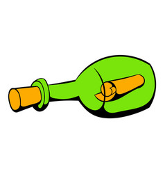 Bottle with letter icon icon cartoon vector