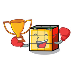 Boxing winner rubik cube mascot cartoon vector