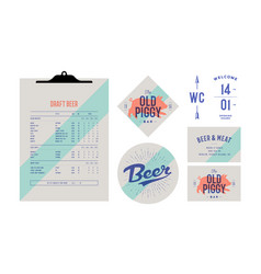 brand identity set for beer bar pub old school vector image