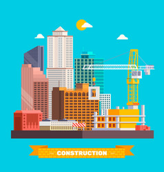 Building work process with houses and construction vector