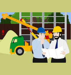 business engineer and worker teamwork building vector image