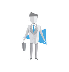 businessman standing with briefcase vector image