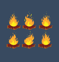 camp fire animation sprites cartoon bonfire vector image