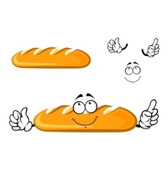 Cartoon dreamy long loaf bread character vector image