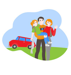 cartoon family travel car with baggage vector image