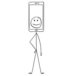 cartoon of character with mobile phone showing vector image