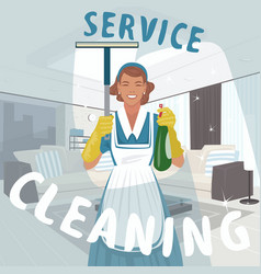 Cleaning woman washing window vector