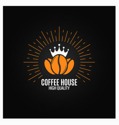 Coffee beans logo on black background vector