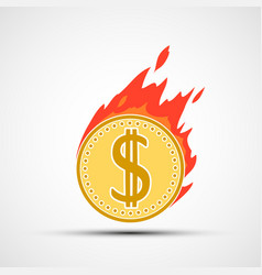 coin dollar on fire money burning in flames vector image