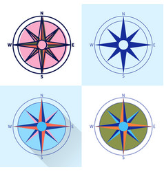 Compass rose icon set in flat and line styles vector