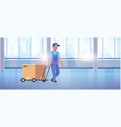 courier in uniform pushing trolley with cardboard vector image