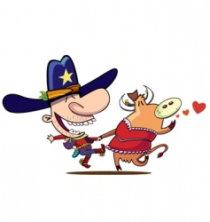 Cow boy dance vector
