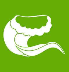 Curling and cracking wave icon green vector