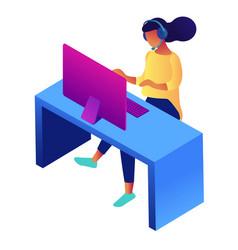 Customer service female representative isometric vector