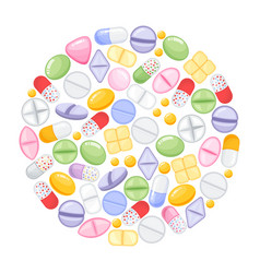 different colorful medical pills capsules and vector image