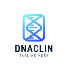 dna gen molecule logo engineering biotechnology vector image