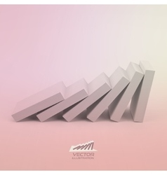 Domino effect concept Business 3D concept vector
