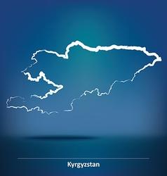 Doodle Map of Kyrgyzstan vector image