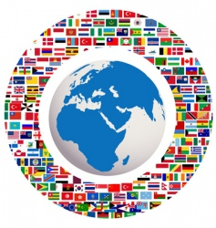 earth globe with all flags vector image
