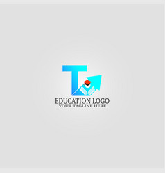 Education logo template with t letter logo vector