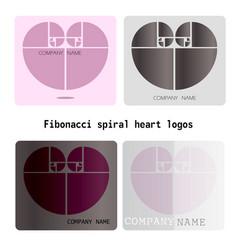 fibonacci heart logos vector image
