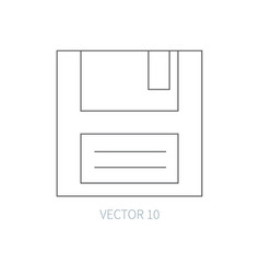 flat line computer part icon - floppy disk vector image