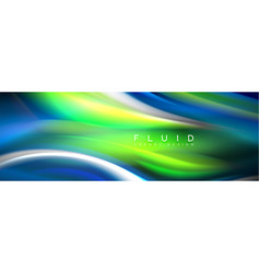 fluid colors mixing glowing neon wave background vector image