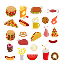 food set signs of feed icon collection of meat vector image