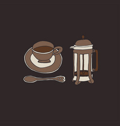 French press and a cup coffee dark academia vector
