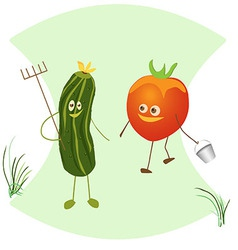 Fun with a rake cucumber and tomato with a bucket vector image