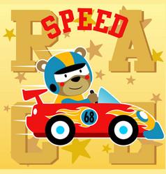 Funny animal car racer cartoon vector