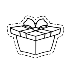 Gift box ribbon wrapped cut line vector