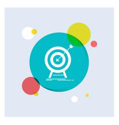 goal hit market success target white glyph icon vector image