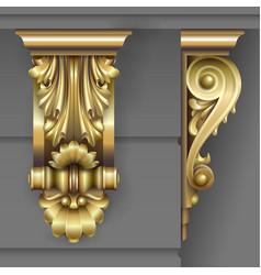 Gold classic facade bracket vector