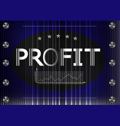 Graph and word profit on a black and blue vector