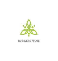 green leaf ornament line shape logo vector image