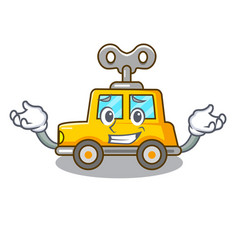 Grinning cartoon clockwork toy car in table vector
