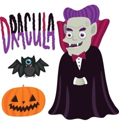 Halloween Dracula character with pumpkin and bat vector image