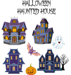 Halloween haunted house collection set vector