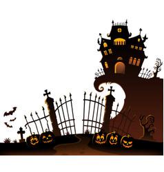 Halloween house silhouette theme 6 vector