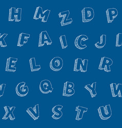hand drawn letters alphabet seamles pattern vector image