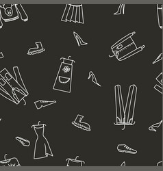 hand drawn seamless pattern with clothes vector image